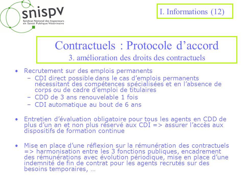 I. Informations (12)Contractuels : Protocole d'accord 3. amélioration des droits des contractuels. Recrutement sur des emplois permanents.