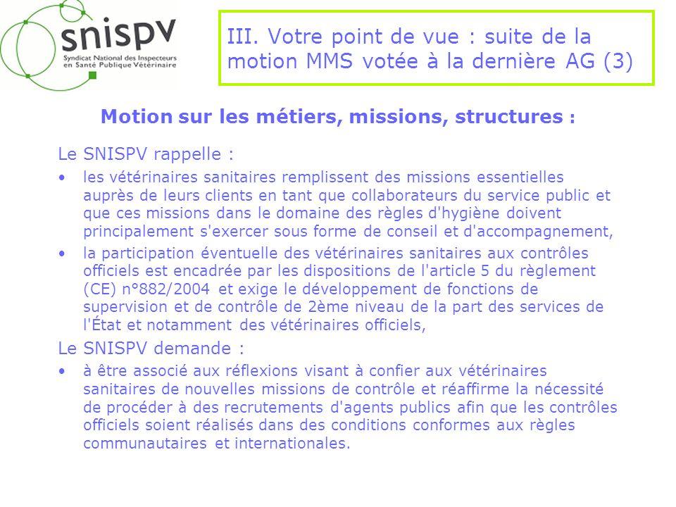 Motion sur les métiers, missions, structures :