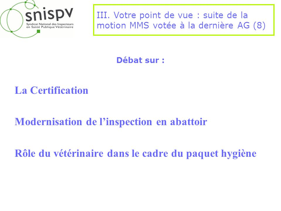 Modernisation de l'inspection en abattoir