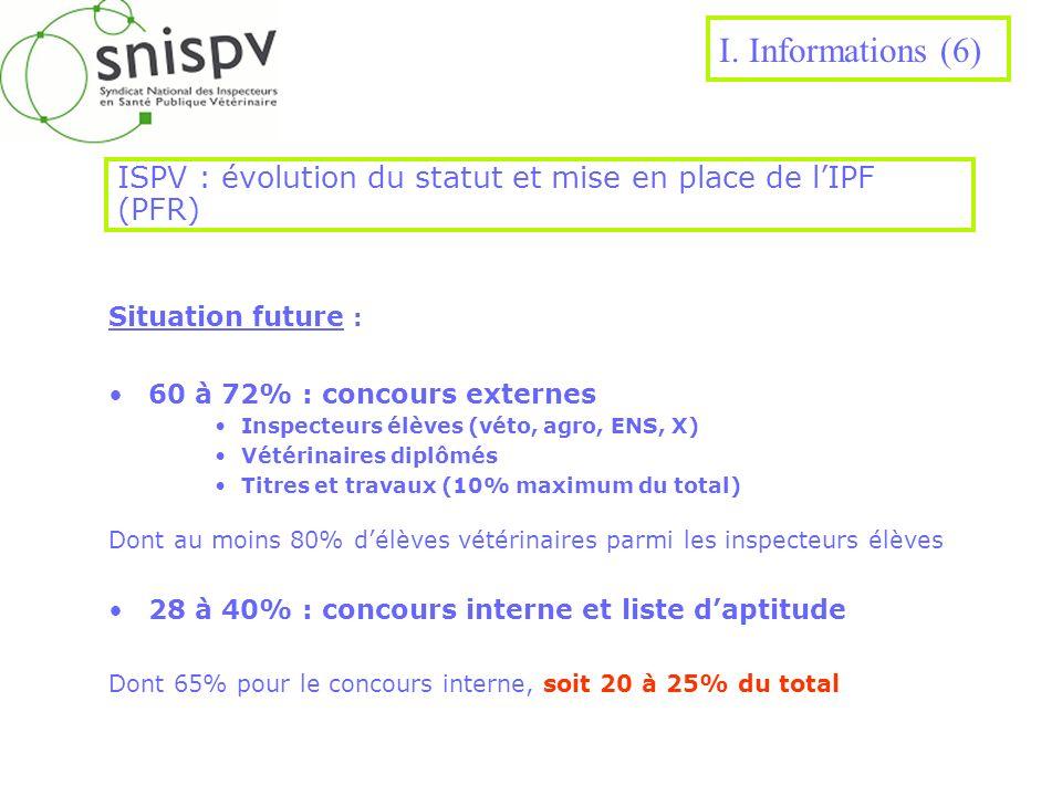 ISPV : évolution du statut et mise en place de l'IPF (PFR)