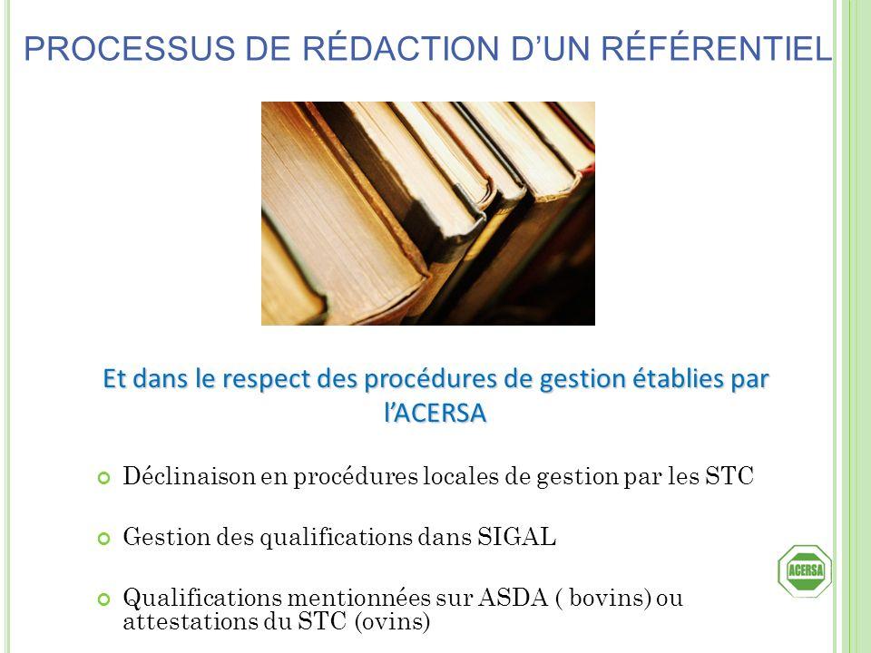 Et dans le respect des procédures de gestion établies par l'ACERSA