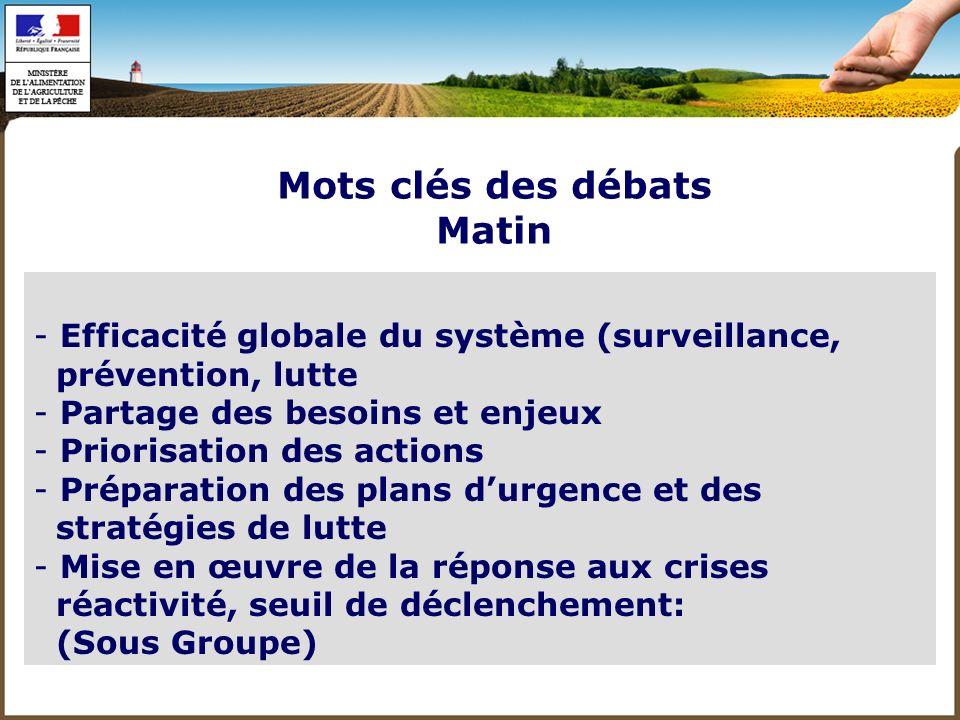 Mots clés des débats Matin