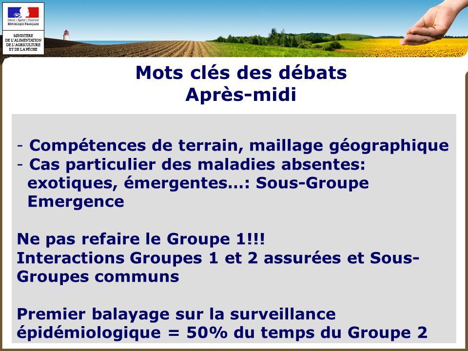 Mots clés des débats Après-midi