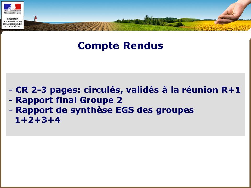 Compte Rendus CR 2-3 pages: circulés, validés à la réunion R+1