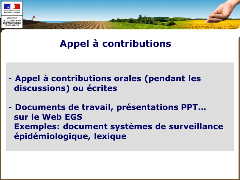 Appel à contributions Appel à contributions orales (pendant les