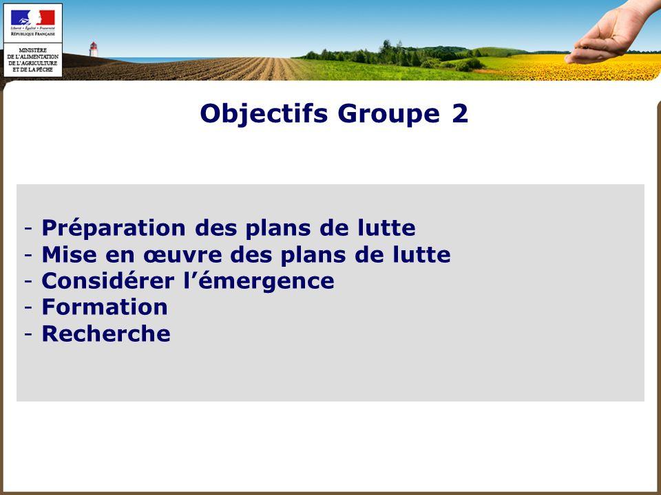 Objectifs Groupe 2 Préparation des plans de lutte
