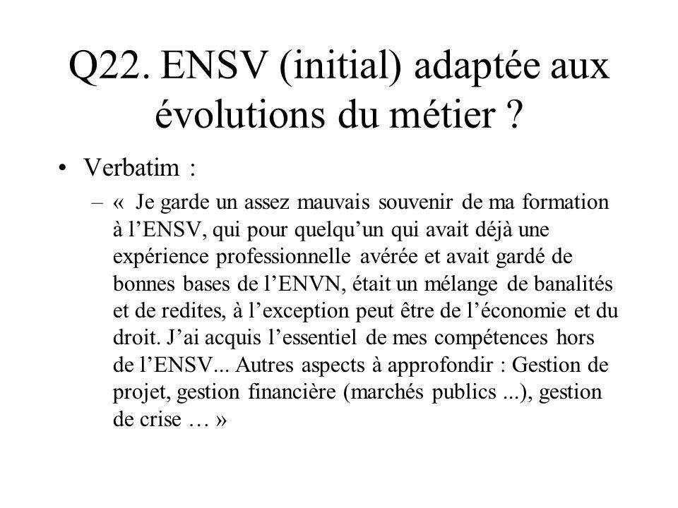 Q22. ENSV (initial) adaptée aux évolutions du métier