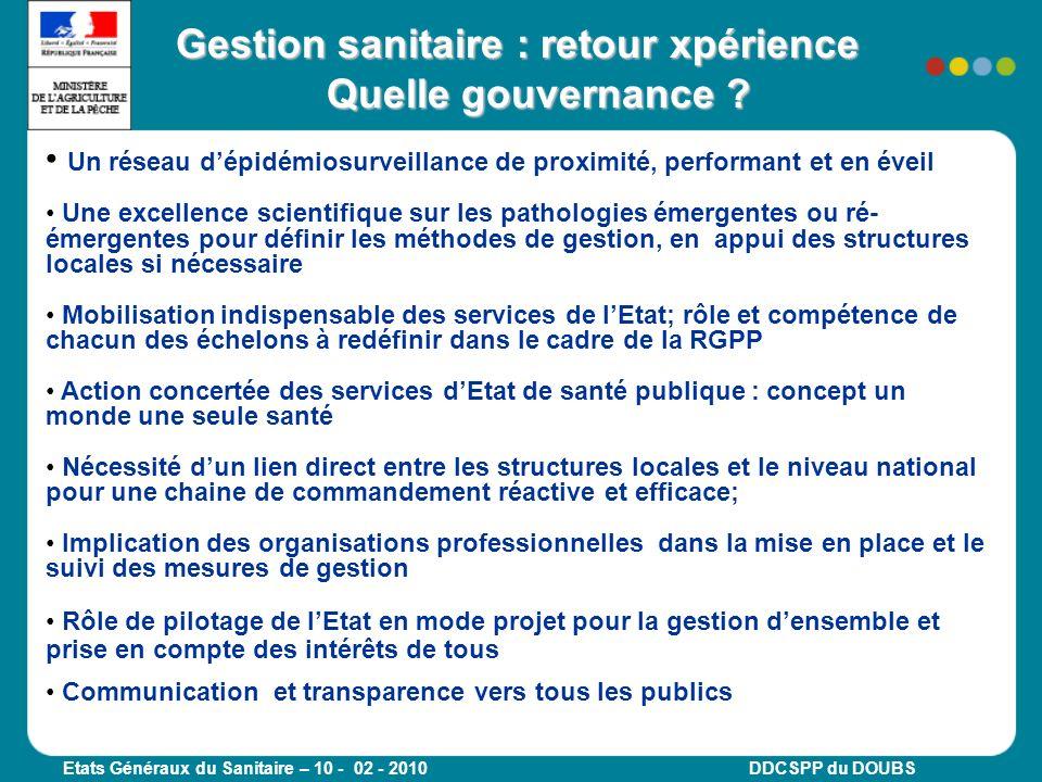 Gestion sanitaire : retour xpérience Quelle gouvernance