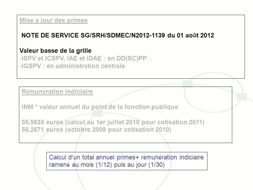 Mise a jour des primes NOTE DE SERVICE SG/SRH/SDMEC/N2012-1139 du 01 août 2012. Valeur basse de la grille.
