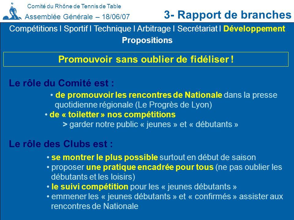 3- Rapport de branches Promouvoir sans oublier de fidéliser !