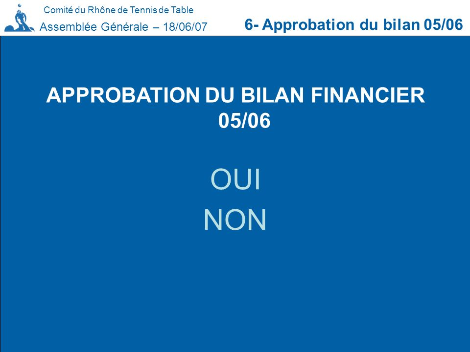 APPROBATION DU BILAN FINANCIER 05/06