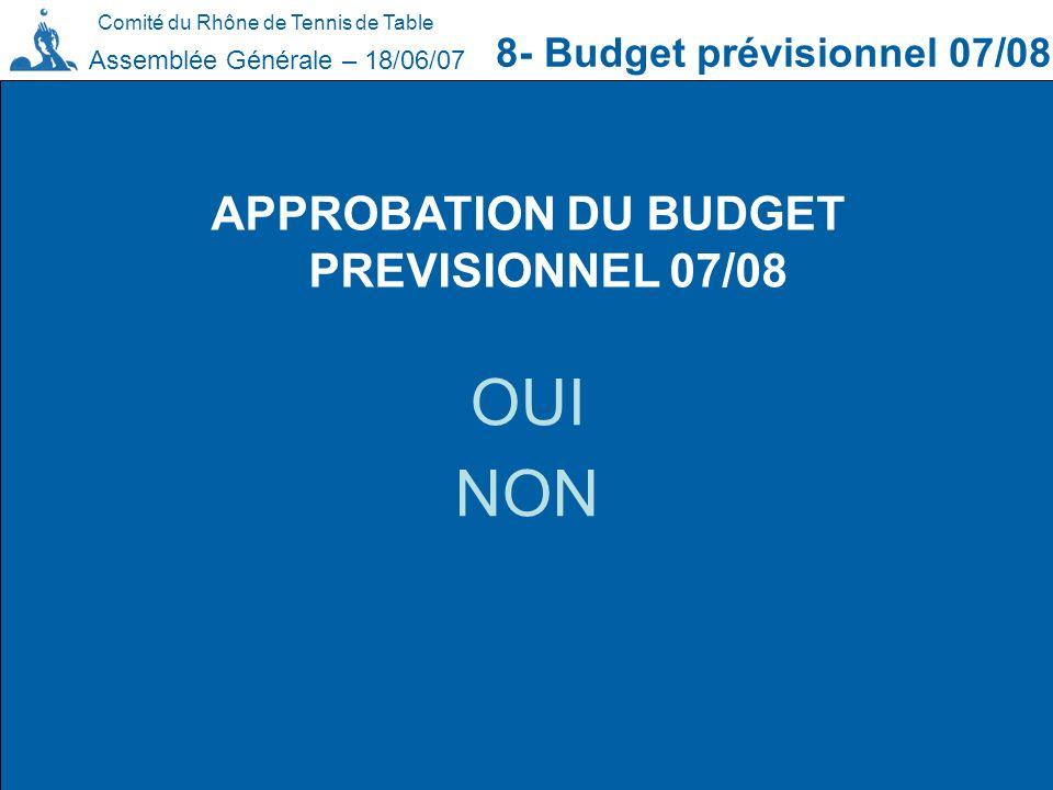 APPROBATION DU BUDGET PREVISIONNEL 07/08