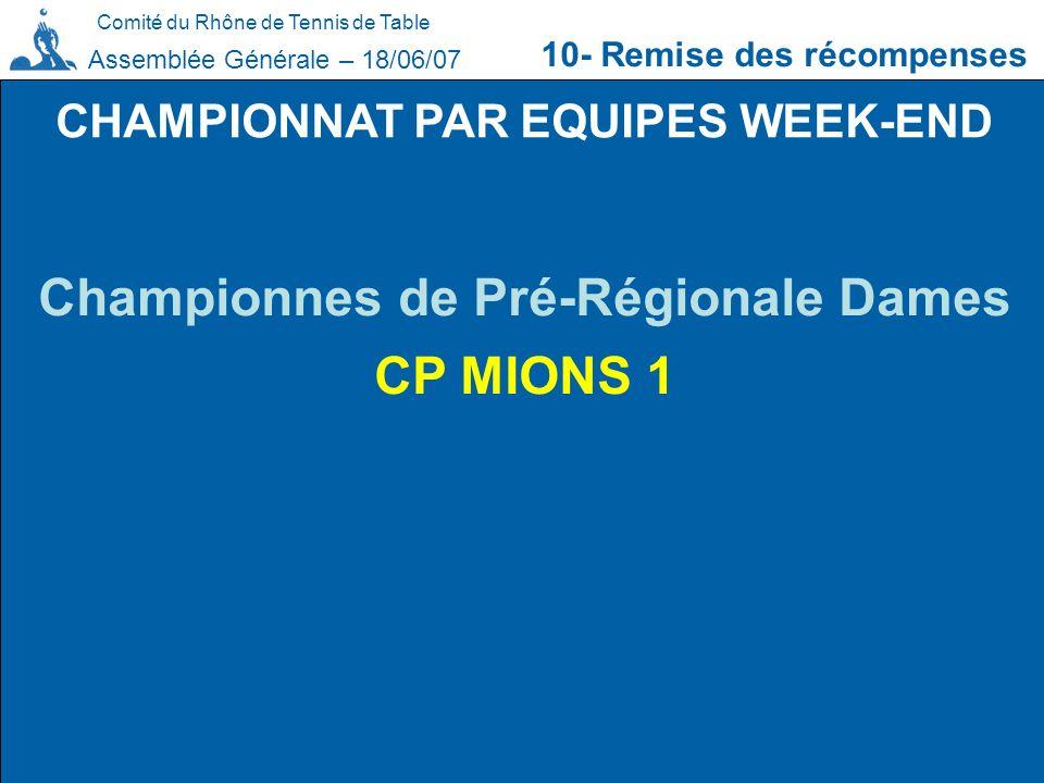 CHAMPIONNAT PAR EQUIPES WEEK-END Championnes de Pré-Régionale Dames