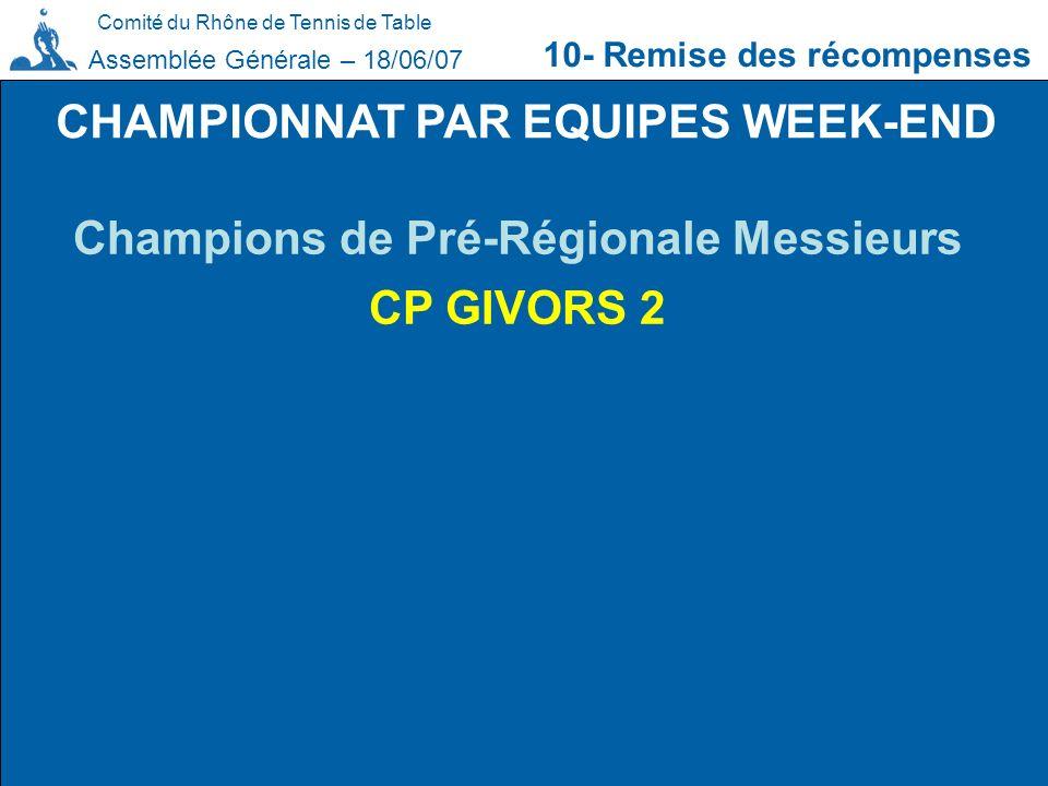 CHAMPIONNAT PAR EQUIPES WEEK-END Champions de Pré-Régionale Messieurs