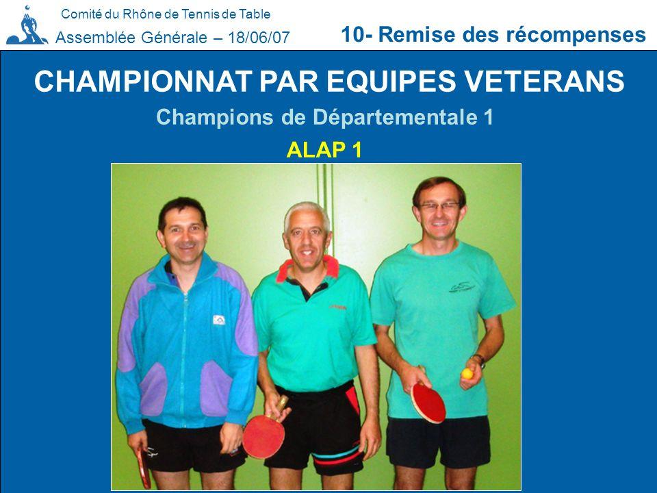 CHAMPIONNAT PAR EQUIPES VETERANS Champions de Départementale 1