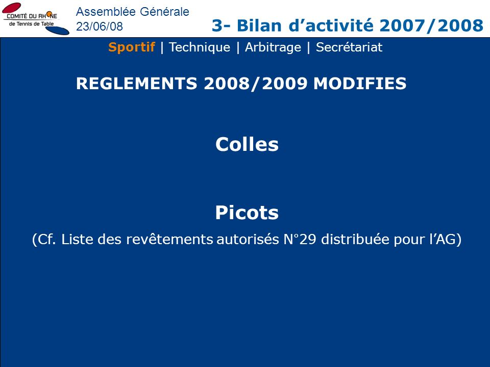 Colles Picots 3- Bilan d'activité 2007/2008