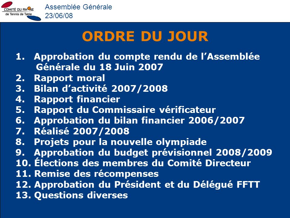 Assemblée Générale 23/06/08. ORDRE DU JOUR. 1. Approbation du compte rendu de l'Assemblée Générale du 18 Juin 2007.