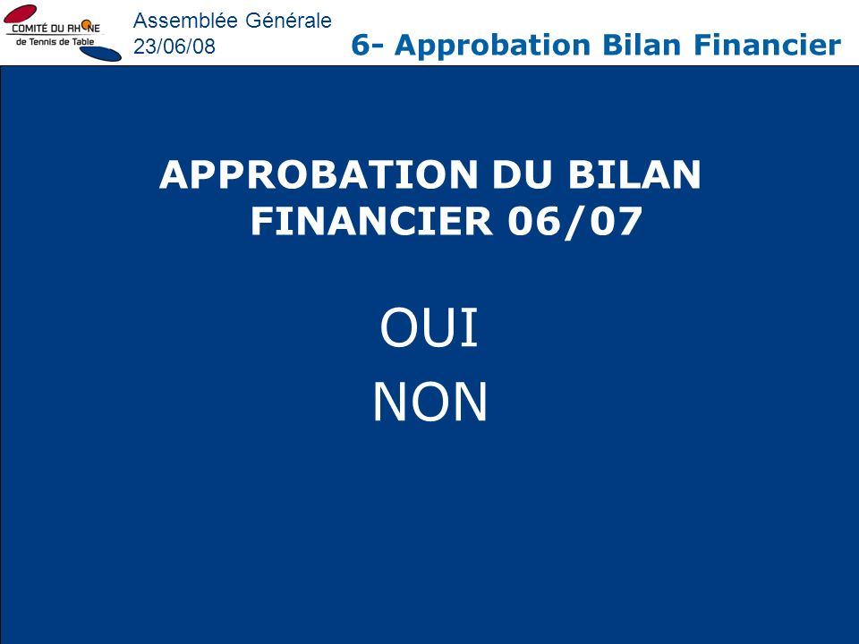 APPROBATION DU BILAN FINANCIER 06/07