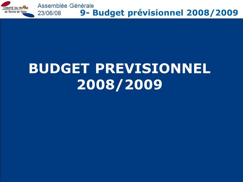 BUDGET PREVISIONNEL 2008/2009 9- Budget prévisionnel 2008/2009