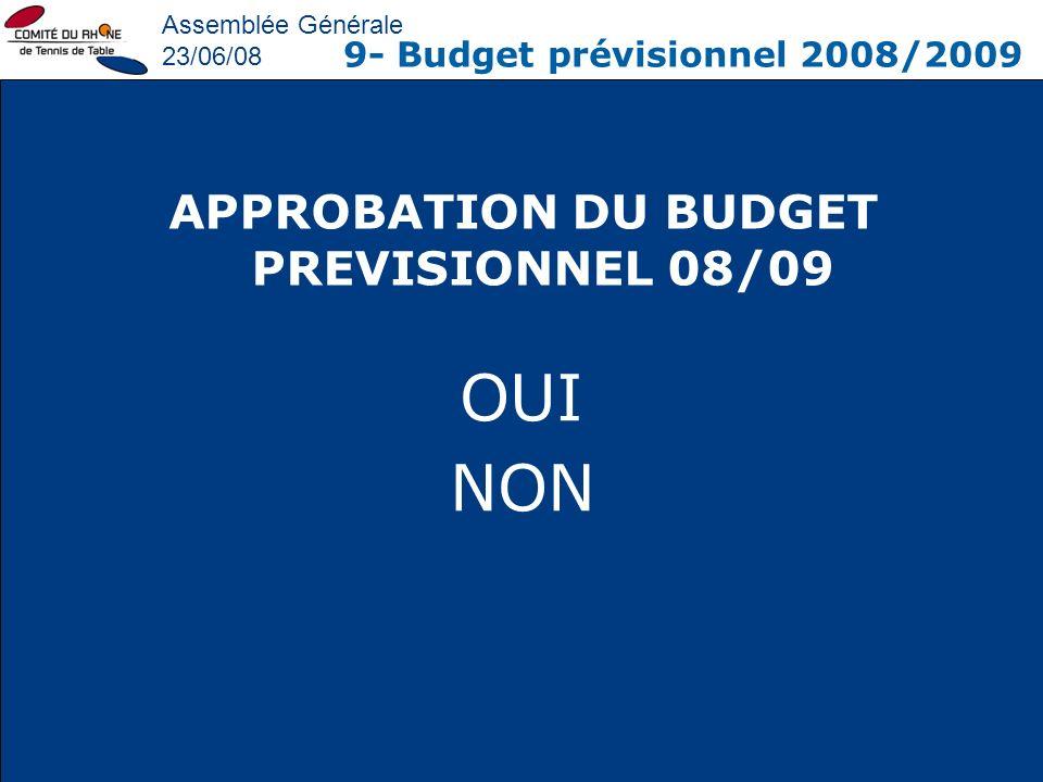 APPROBATION DU BUDGET PREVISIONNEL 08/09