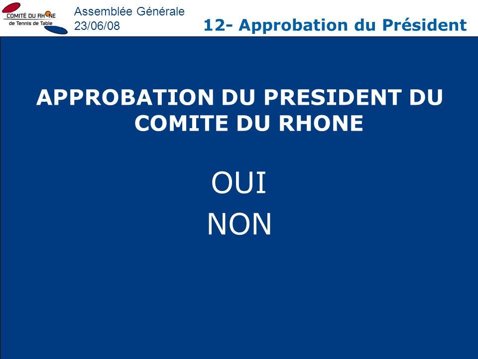 APPROBATION DU PRESIDENT DU COMITE DU RHONE