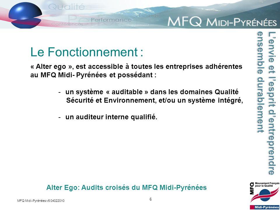 Le Fonctionnement : « Alter ego », est accessible à toutes les entreprises adhérentes au MFQ Midi- Pyrénées et possédant :