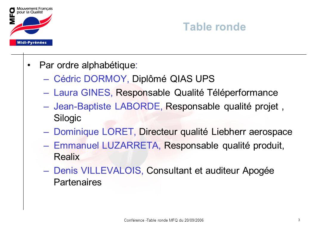 Conférence -Table ronde MFQ du 20/09/2006
