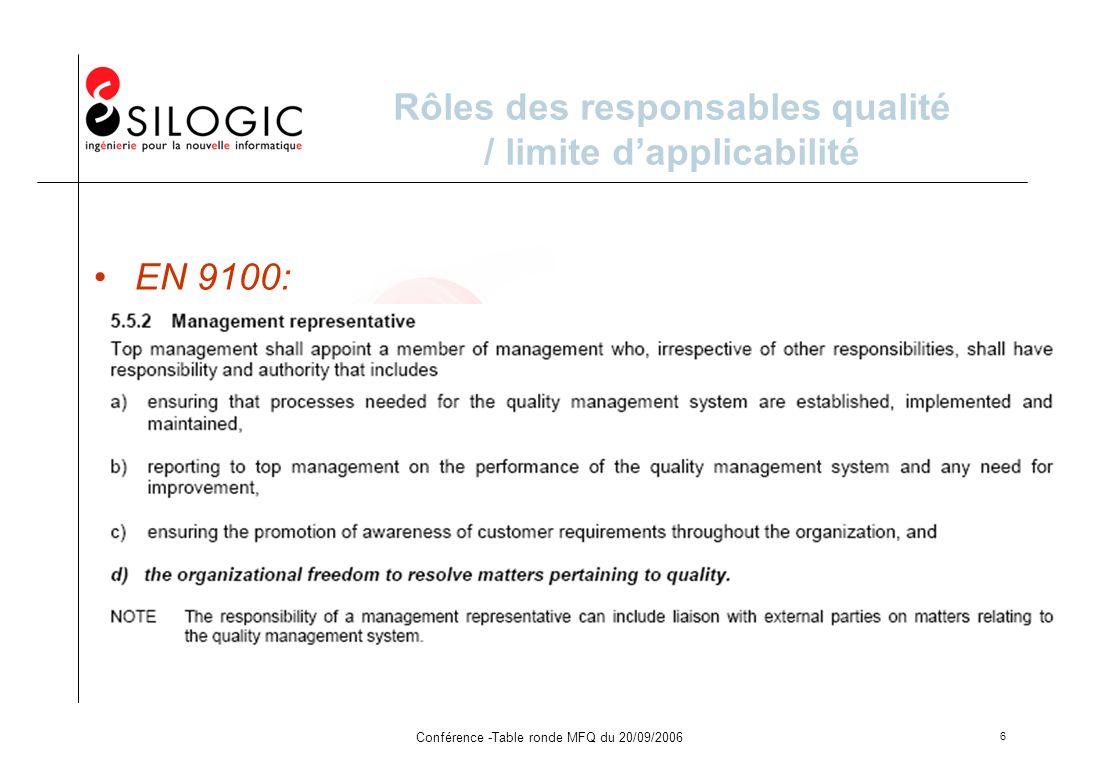 Rôles des responsables qualité / limite d'applicabilité