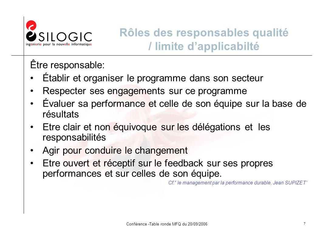 Rôles des responsables qualité / limite d'applicabilté
