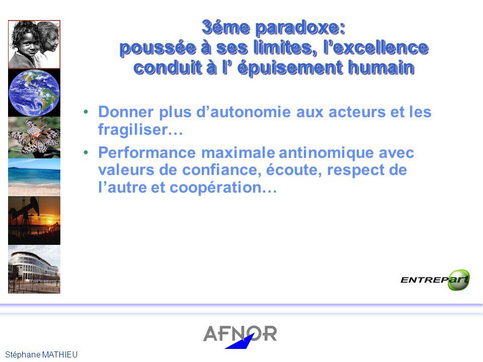 3éme paradoxe: poussée à ses limites, l'excellence conduit à l' épuisement humain