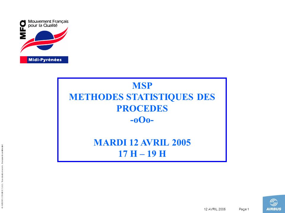 METHODES STATISTIQUES DES PROCEDES
