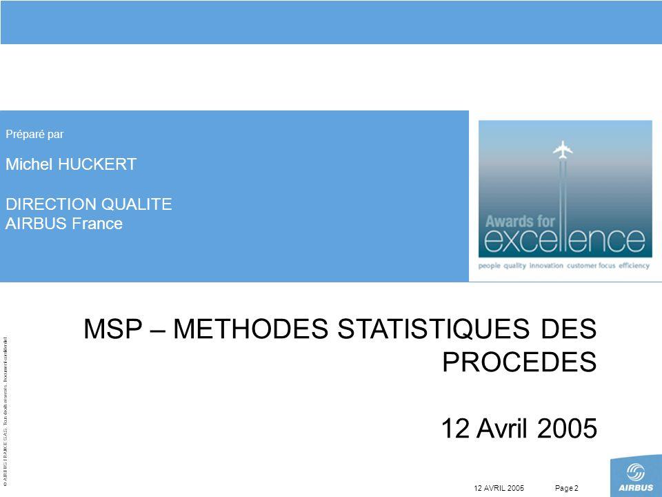 MSP – METHODES STATISTIQUES DES PROCEDES