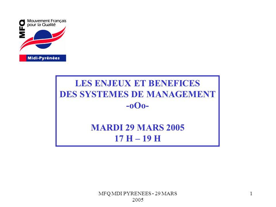 LES ENJEUX ET BENEFICES DES SYSTEMES DE MANAGEMENT