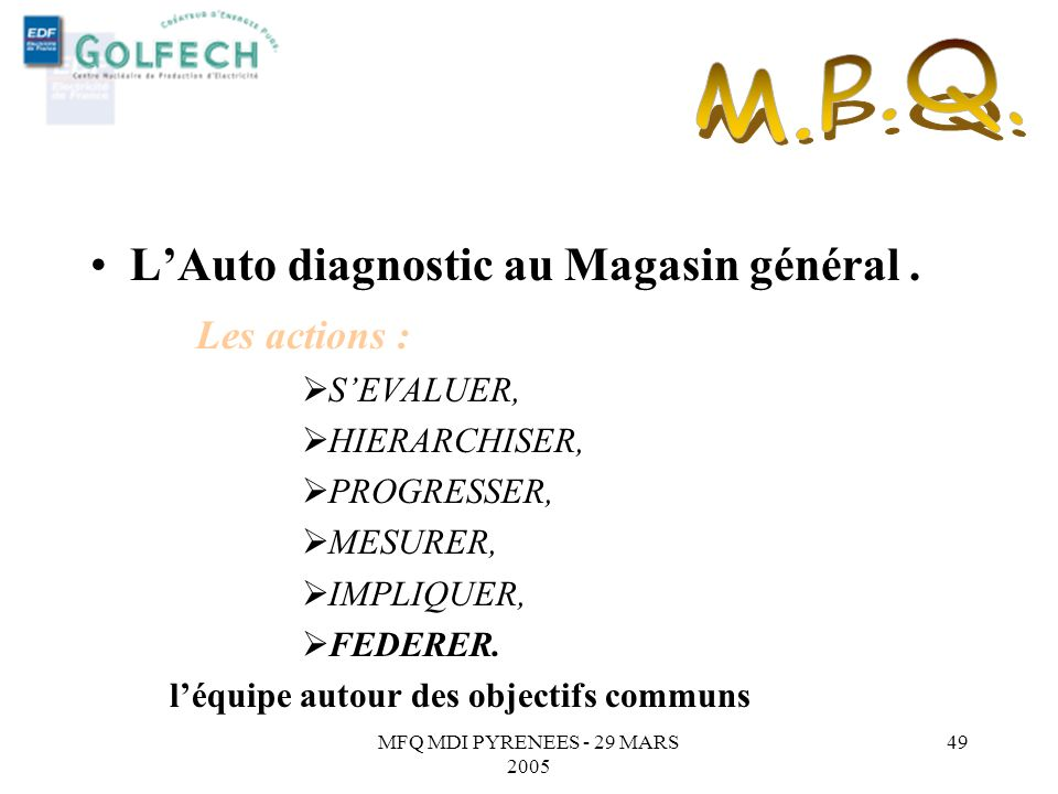 M.P.Q. L'Auto diagnostic au Magasin général . Les actions : S'EVALUER,