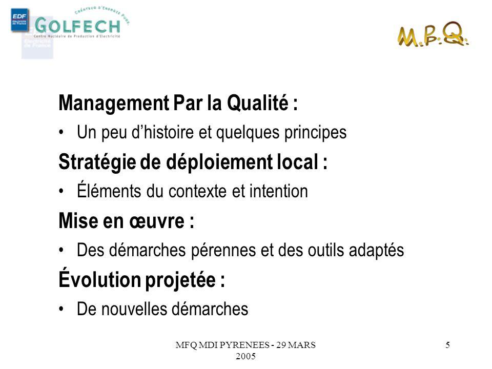 M.P.Q. Management Par la Qualité : Stratégie de déploiement local :