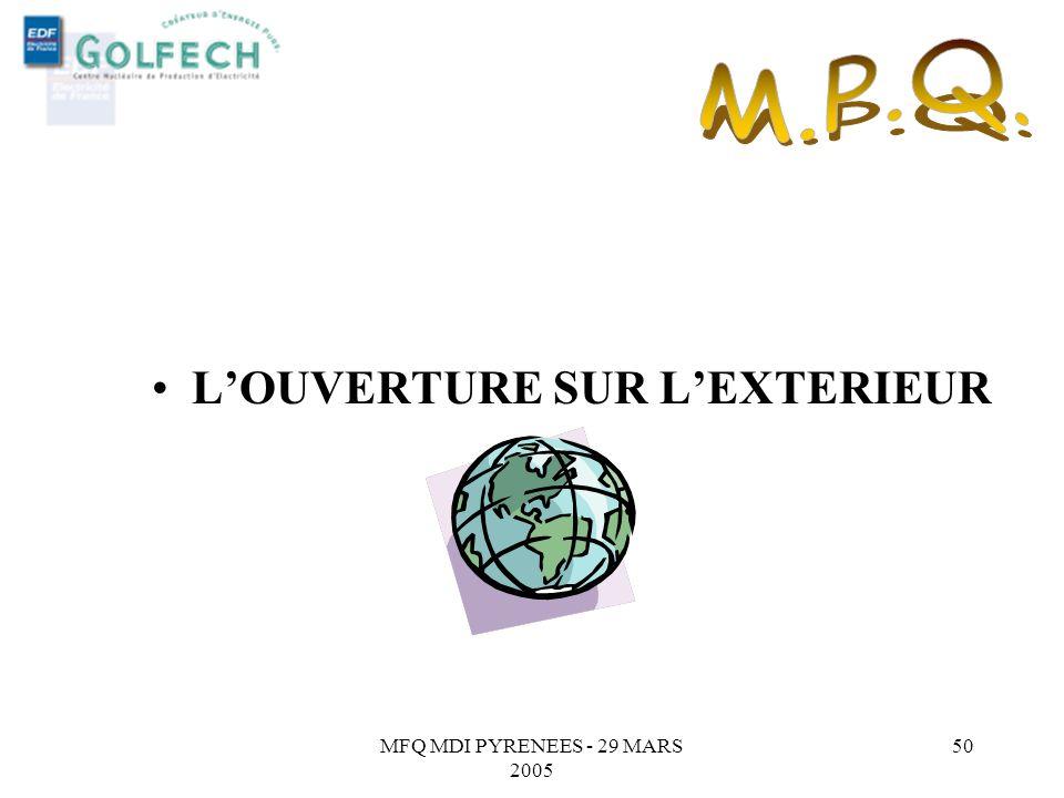 L'OUVERTURE SUR L'EXTERIEUR