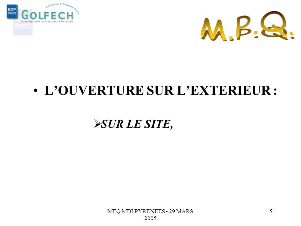 M.P.Q. L'OUVERTURE SUR L'EXTERIEUR : SUR LE SITE,