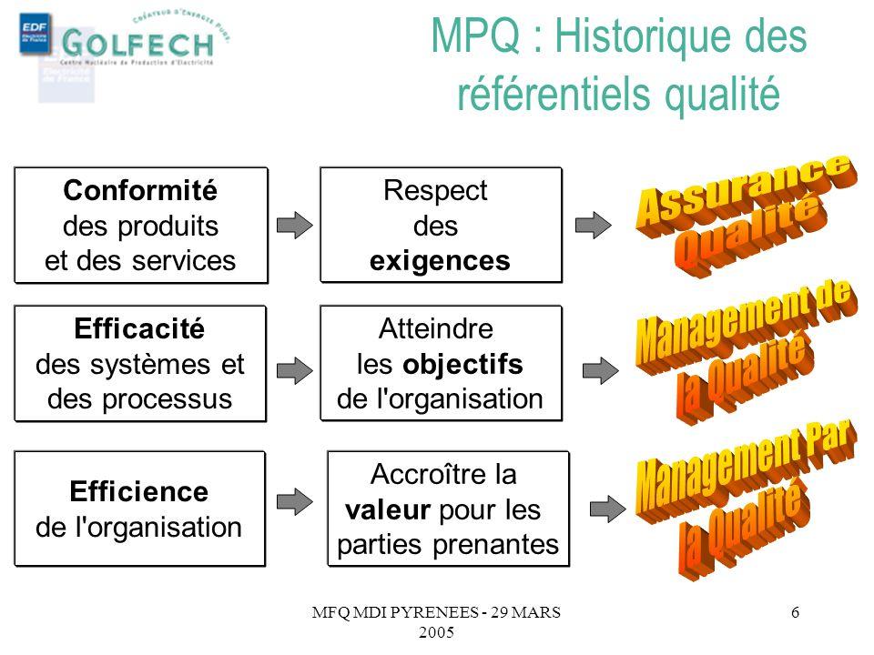 MPQ : Historique des référentiels qualité