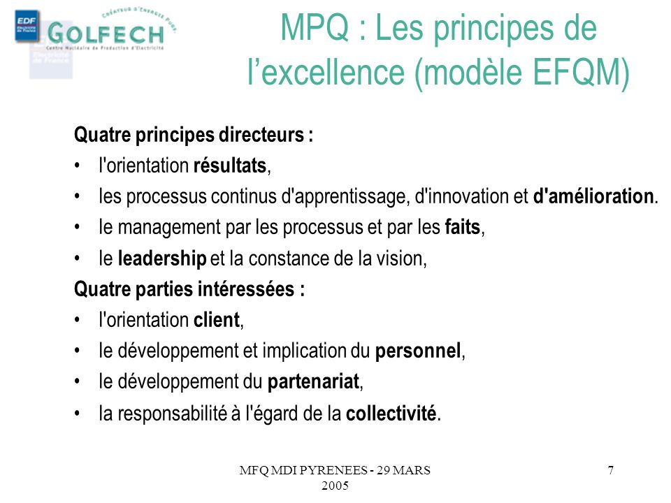 MPQ : Les principes de l'excellence (modèle EFQM)