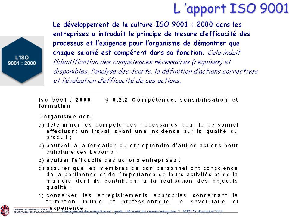 L 'apport ISO 9001 Management des compétences : quelle efficacité des actions entreprises .