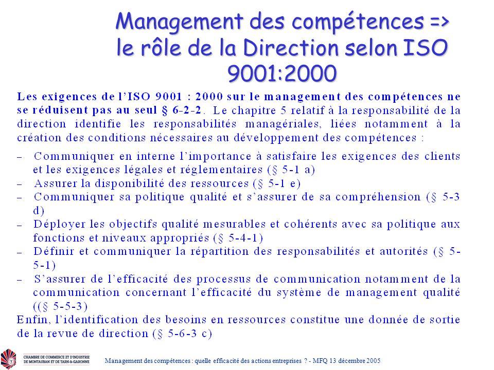 Management des compétences => le rôle de la Direction selon ISO 9001:2000