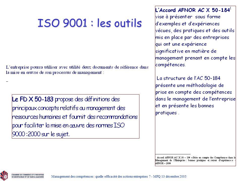 ISO 9001 : les outils Management des compétences : quelle efficacité des actions entreprises .