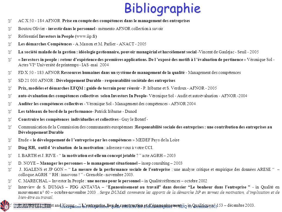 Bibliographie AC X 50 - 184 AFNOR Prise en compte des compétences dans le management des entreprises.