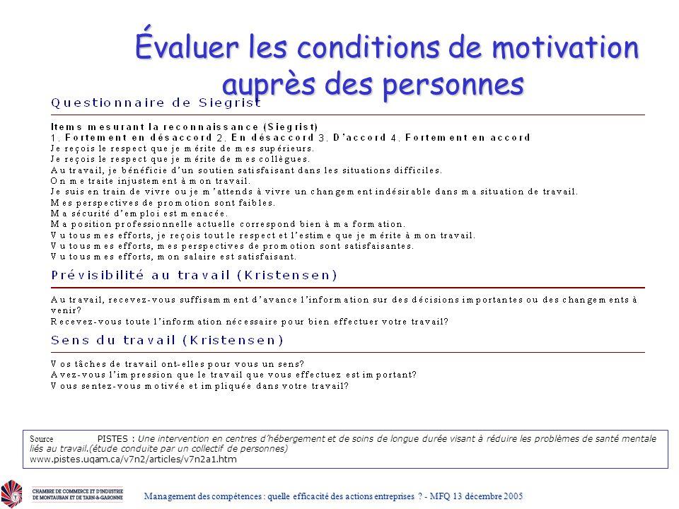 Évaluer les conditions de motivation auprès des personnes