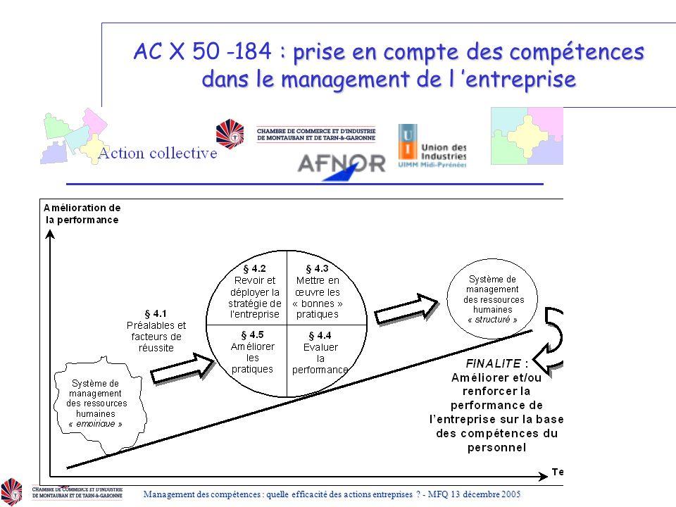 AC X 50 -184 : prise en compte des compétences dans le management de l 'entreprise
