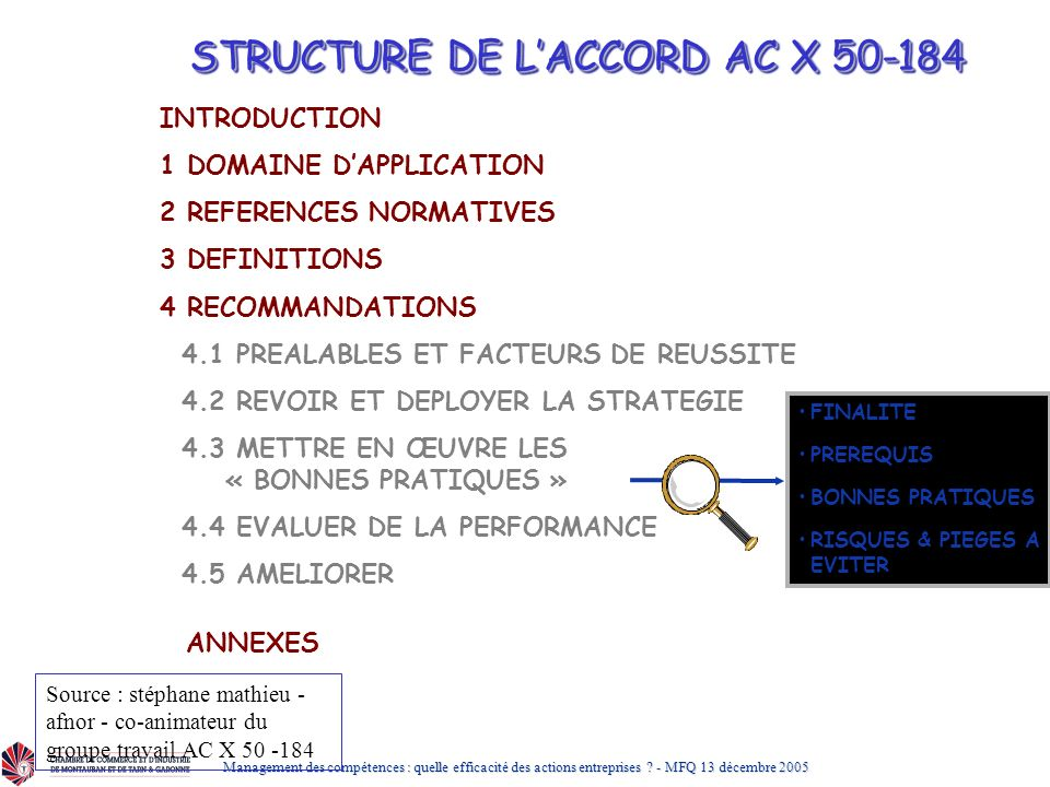 STRUCTURE DE L'ACCORD AC X 50-184