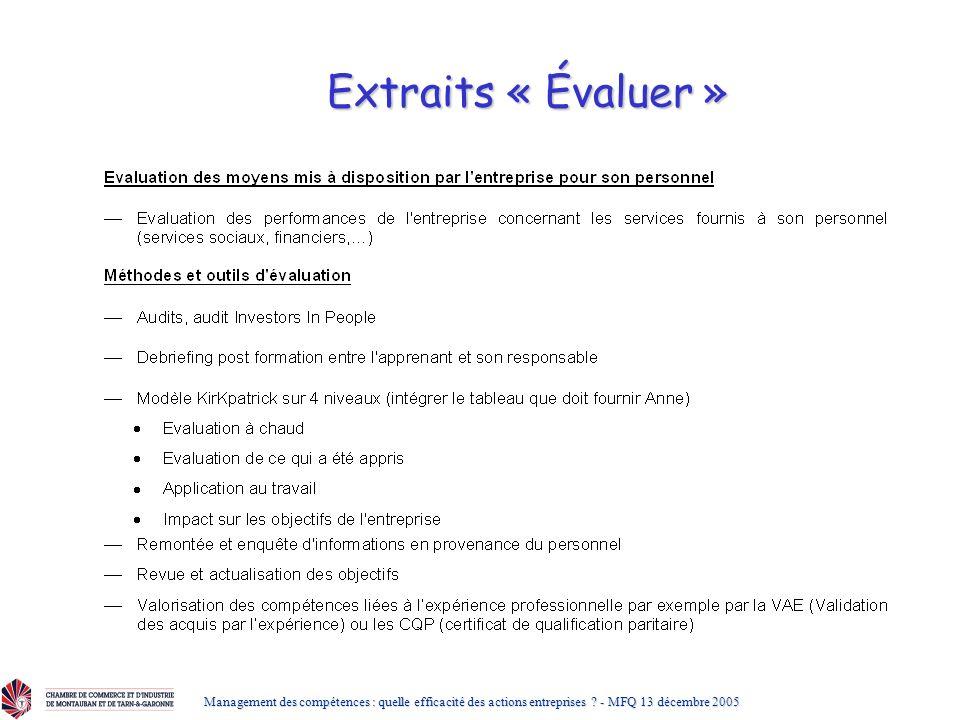 Extraits « Évaluer » Management des compétences : quelle efficacité des actions entreprises .