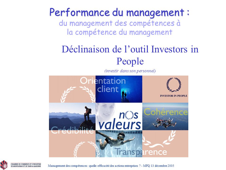 Déclinaison de l'outil Investors in People