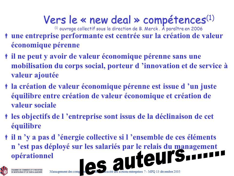 Vers le « new deal » compétences(1) (1) ouvrage collectif sous la direction de B. Merck . À paraître en 2006