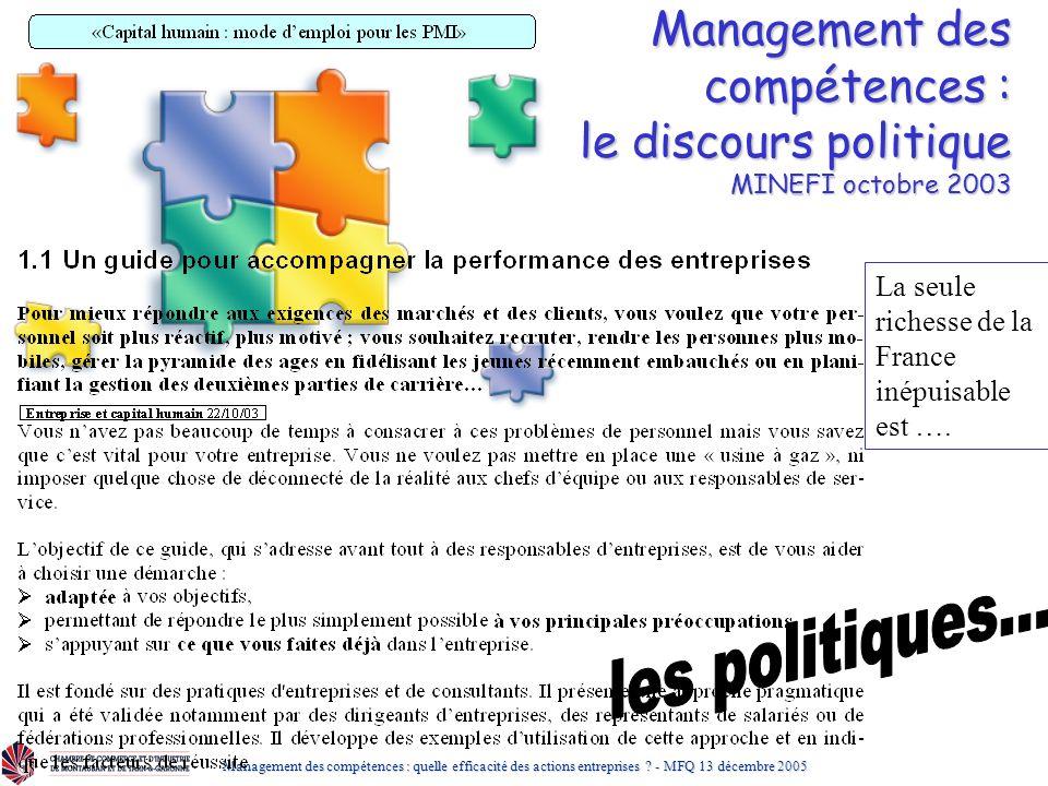 Management des compétences : le discours politique MINEFI octobre 2003